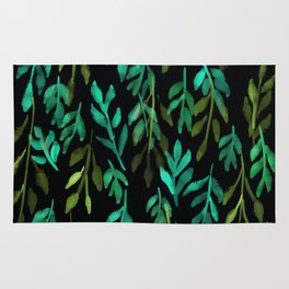 180726 Abstract Leaves Botanical Dark Mode 6|Botanical Illustrations Rug