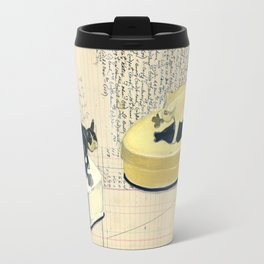 Vintage Pig and Dog Celluloid Boxes in Gouache Travel Mug