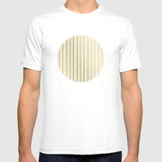Tribal Stripes Gold MEDIUM Mens Fitted Tee White