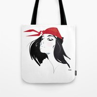quibe Tote Bags featuring Elektra after Gruau by quibe