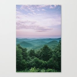 Pink Sunset over the Blue Ridge Mountains Canvas Print