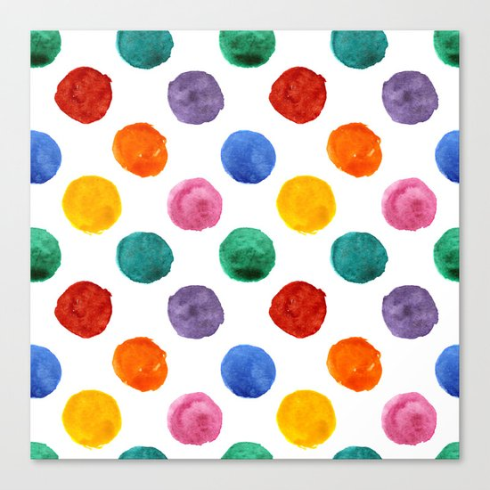 'Happiness and joy', colorful watercolor dots Canvas Print