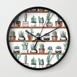 Cactus Shelf Rose Gold Green Wall Clock