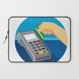 Hand Swiping Credit Card on POS Terminal Retro Laptop Sleeve