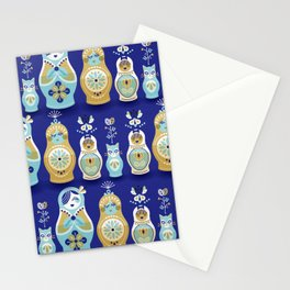 Russian Nesting Dolls – Navy Stationery Cards