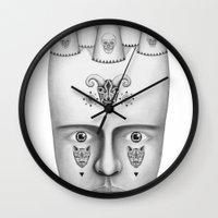 skulls Wall Clocks featuring Skulls by Lou Patrou