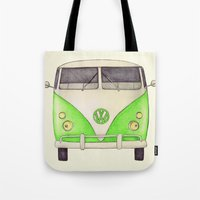 volkswagon Tote Bags featuring VW Type 2 by One Curious Chip