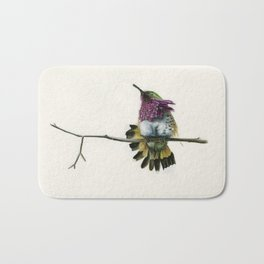 Hummingbird on a branch Bath Mat