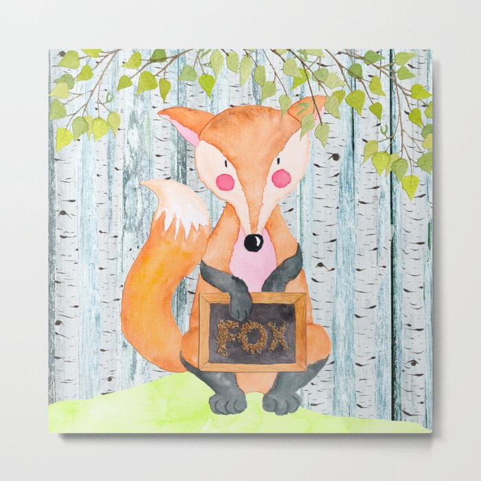 The little Fox- Woodland Friends- Watercolor Illustration Metal Print