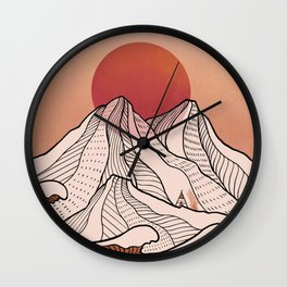 Chasing wave under the red Sun rising Wall Clock