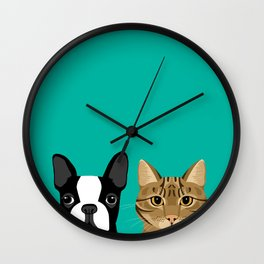Boston Terrier & Tabby Wall Clock