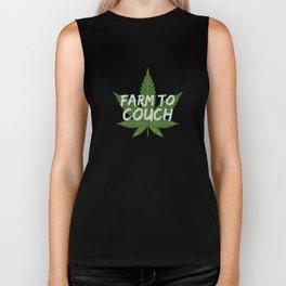 Marijuana Leaf Farm to Couch Funny Gift for Stoner Biker Tank