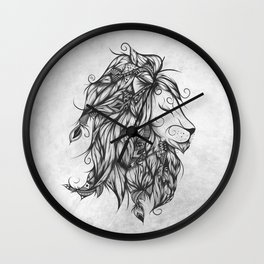 Poetic Lion B&W Wall Clock