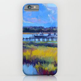 Marsh Painting of Thunderbolt, Georgia at Dawn by Katie Wall Art iPhone Case