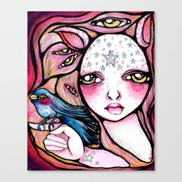 A Girl and Her Bird Canvas Print