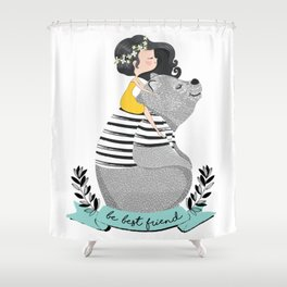 Cute bear with little girl illustration. Shower Curtain