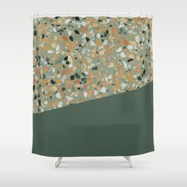Terrazzo Texture Military Green #4 Shower Curtain