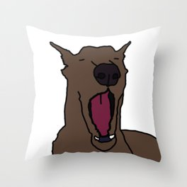 Yawning Dog Throw Pillow