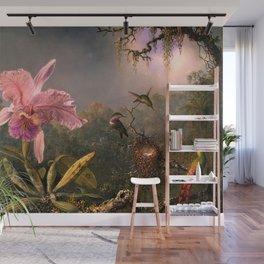 Cattleya Orchid and Three Brazilian Hummingbirds by Martin Johnson Heade. Wall Mural
