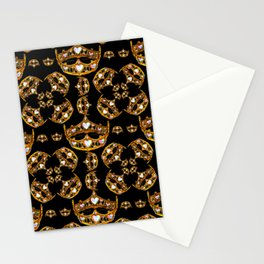 Queen of Hearts gold crown tiara scattered pattern by Kristie Hubler with black background Stationery Cards