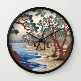 The Maiko beach in Harima province by Utagawa Hiroshige, 1853 Wall Clock