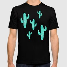 Linocut Cacti Candy Black Mens Fitted Tee LARGE