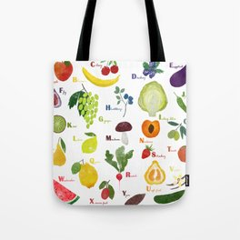 English fruit and vegetables alphabet Tote Bag