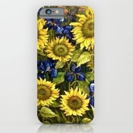 Sunflowers & Blue Irises by Vincent van Gogh iPhone Case