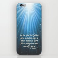 scripture iPhone & iPod Skins featuring Scripture II Timothy 1:7  by bjscarrigan