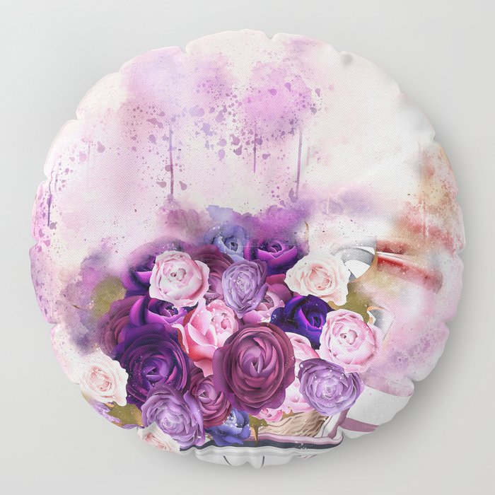 Vintag Bicycle and Flowers Floor Pillow