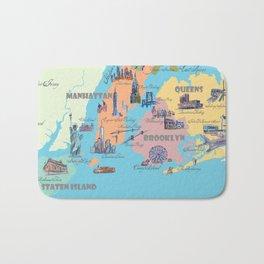 New York City Fine Art Print Retro Vintage Favorite Map with Touristic Highlights Bath Mat