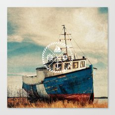 Blue Brown Vintage Nautical Anchor Sailing Boat Canvas Print