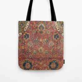 Persian Medallion Rug IV // 16th Century Distressed Red Green Blue Flowery Colorful Ornate Pattern Tote Bag