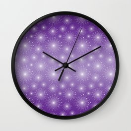 Purple Gradient with White Sparkle Starbursts Wall Clock