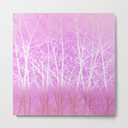 Frosted Winter Branches in Misty Pink Metal Print