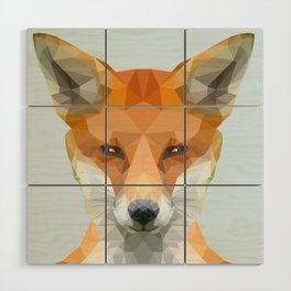 Low poly fox on blue/grey background Wood Wall Art