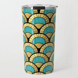 Duck Egg Green Art Deco Fan Pattern Travel Mug
