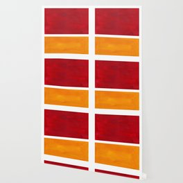 Burnt Red Yellow Ochre Mid Century Modern Abstract Minimalist Rothko Color Field Squares Wallpaper