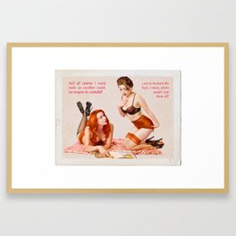 """""""Girl Talk"""" - The Playful Pinup - Black and Pink Lingerie Pinup by Maxwell H. Johnson Framed Art Print"""