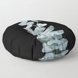 Eucalyptus Leaves on a Black Sky Floor Pillow