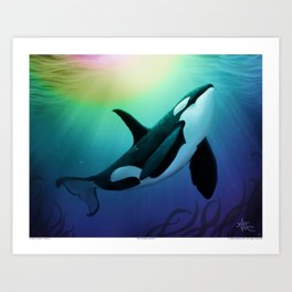 """The Dreamer Ascends"" by artist Amber Marine ~ (Copyright 2015) ~ Orca / Killer Whale Art Art Print"