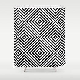Black Elegant Diamond Chevron Shower Curtain