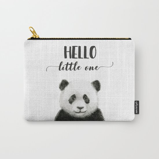 Panda Art Print Baby Animals Hello Little One Nursery Decor Carry-All Pouch