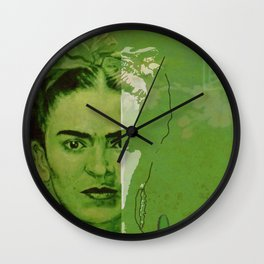 Frida Kahlo - between worlds - green Wall Clock