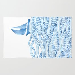 Blue sailboat, watercolor nautical ocean waves sea Rug