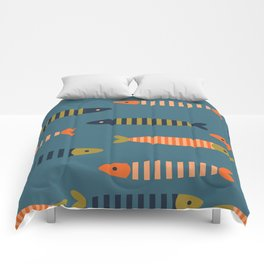 Striped fish - blue Comforters