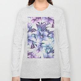 Violet pink teal hand painted sketch elegant floral Long Sleeve T-shirt