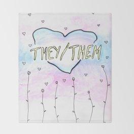 They/them pronouns Throw Blanket