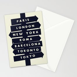 City signpost world destinations Stationery Cards
