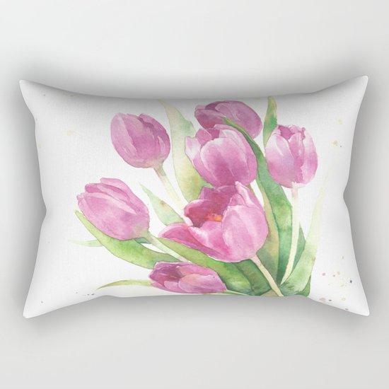 Watercolor bouquet of pink tulips Rectangular Pillow
